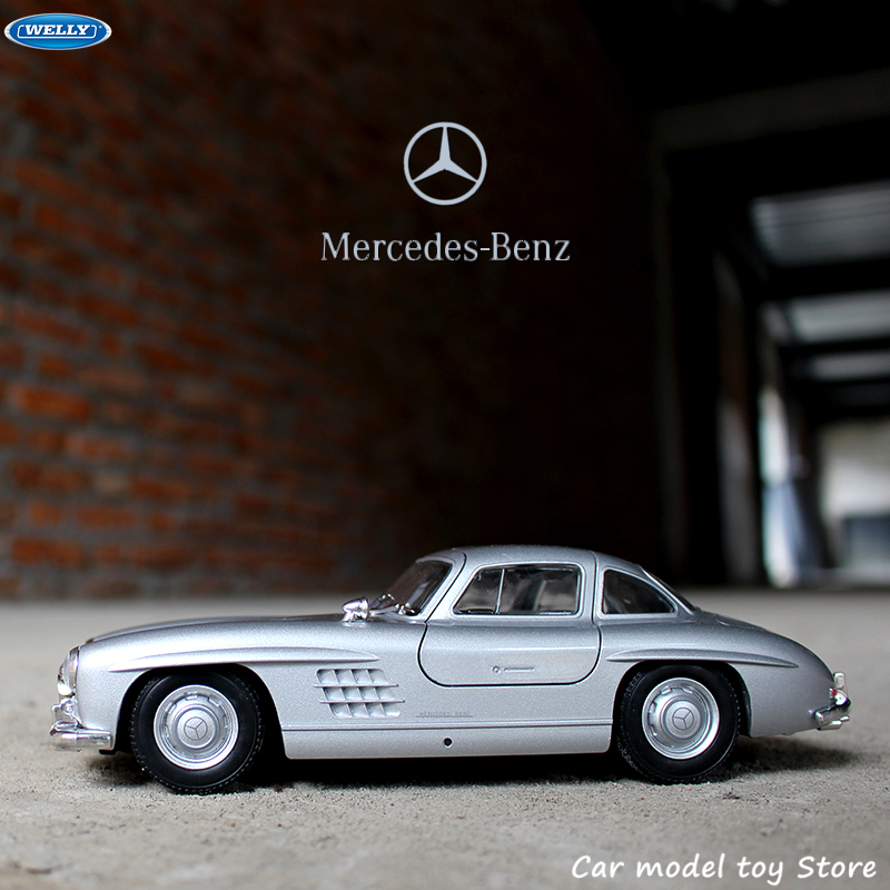 WELLY 1:24  Mercedes 300SL Silver Simulation Alloy Car Model Crafts Decoration Collection Toy Tools Gift