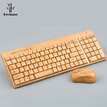 Techase Wooden Slim Teclado E Mouse Sem Fio Wireless Keyboard and Mouse Bamboo Design Mini Keyboard and Mouse Combo For Laptop