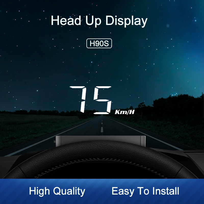 H90S Hud Display Car KM h MPH Auto Electronics Better Than H90 OBD2 Hud windshield Projector display car 2020