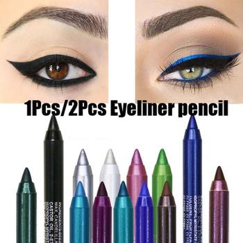 Nowy eyeliner ołówek długotrwały wodoodporny Pigment zielono-brązowy czarny Eyeiner Pen kobiety moda kolor oczu makijaż kosmetyki TSLM2 tanie i dobre opinie Y W F Łatwe do noszenia Długotrwała Naturalne Inne Wodoodporna wodoodporny matte eyeliner pen 12 colors (optional) eye Liner pen