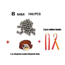 Huntingdoor Slingshot Powerful Elastic Flat Rubber Band with magnetic ring and 100pcs 8mm Ammo Steel Ball for hunting shooting