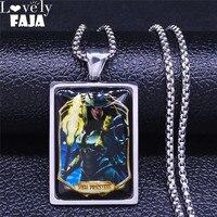 Tarot kleine glacoide Obsidian Die Hohe Priestess Schwarz Edelstahl Glas Halskette Frauen Silber Farbe Schmuck chaine NXS03
