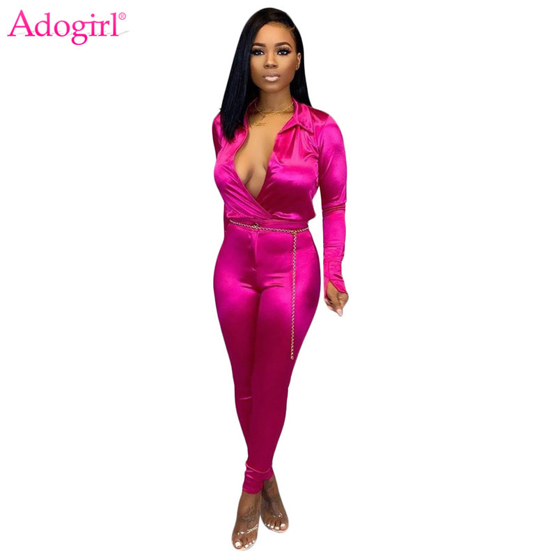 Adogirl Solid Office Lady Two Piece Set Sexy Deep V Neck Long Sleeve Shirt Top Pencil Pants Business Suit Women Fashion Clothing