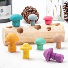 Montessori cogumelo colorido de madeira em forma de cor triagem jogo brinquedo crianças escolhendo cogumelo brinquedos educativos
