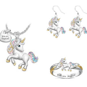 Silver-Color Jewelry-Set Ring Necklace Unicorn Birthday-Gift Rainbow Children's Cartoon