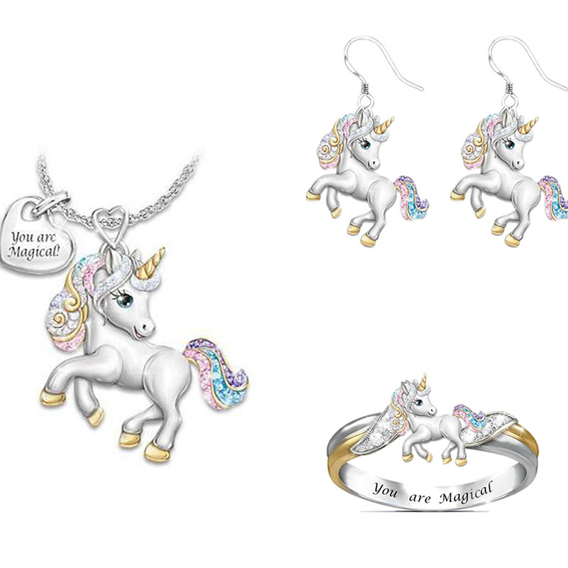 1/2/3pcs Cute Rainbow Unicorn Jewelry Set Silver Color Children's Necklace Ring Jewelry Set Cartoon Animal Jewelry Birthday Gift