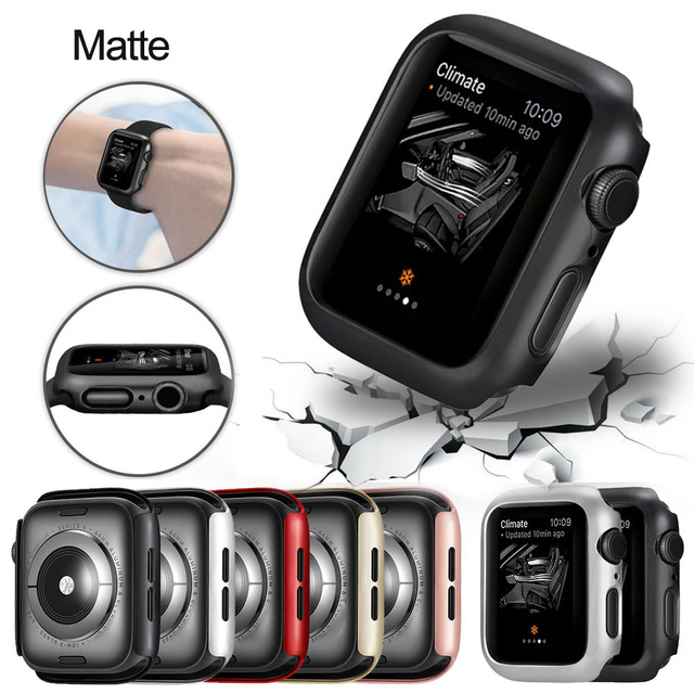 Matte cover For Apple Watch Series 6 5 4 38MM 44mm 40mm Frame Protective Case Cover Shell Bumper Case for iWatch 5 4 Cover 42MM