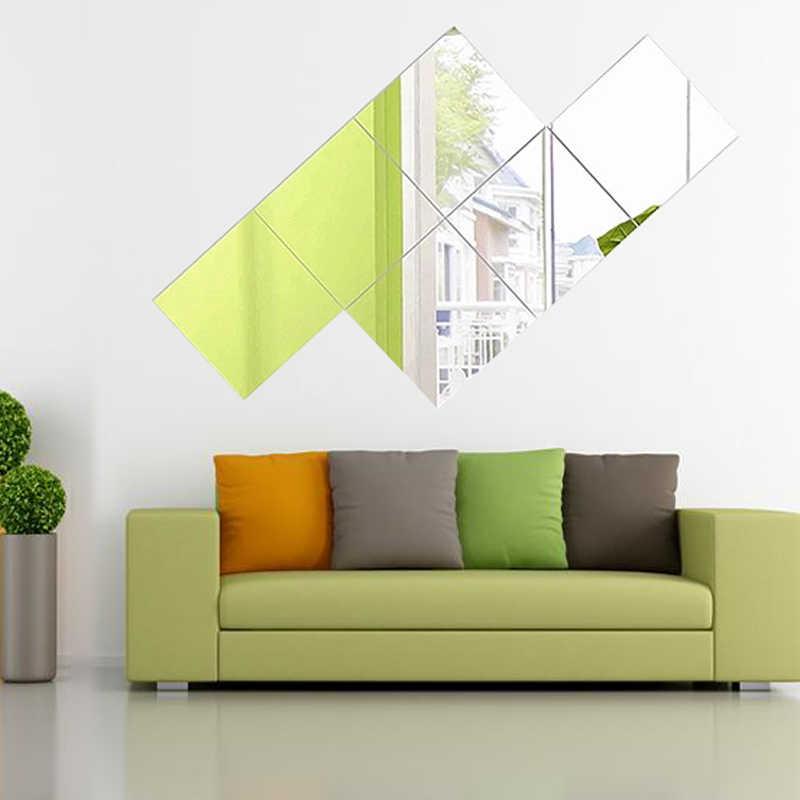 15X15cm samoprzylepne lustro ozdobne kwadratowe naklejki ścienne do łazienki kreatywne 3D Home dekory płytki samoprzylepne elastyczne lustro