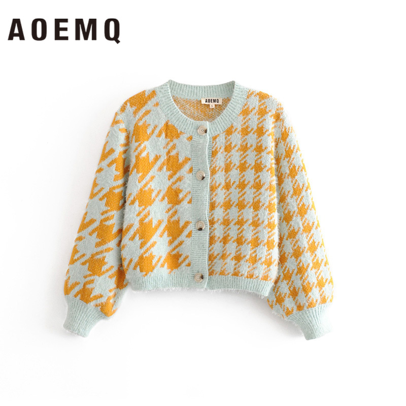 AOEMQ Winter Warm Sweaters Open Stitch Singe-breasted Cardigan Sweaters Patchwork Pattern Print Warm Sweater Women Clothing