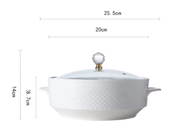 Creative Nordic Ceramic Handle Salad Fruit Soup Bowl With Lid Anti-scalding Noodle Rice Food Pot Dessert Breakfast Oat Ceramic Soup Bowl Dining & Entertaining Home & Garden Home Garden & Appliance Kitchen, Dining & Bar Soup Bowls Color: white 8inch