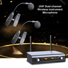 Professional UHF Dual Saxophone Mic Wireless Microphone Instrument Stage Performance