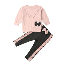 лучшая цена 2PCS Toddler Baby Girl Clothes Outfit Ruffle Bowknot Long Sleeve Pink Sweatshirt Pants Newborn Kids Clothes Set
