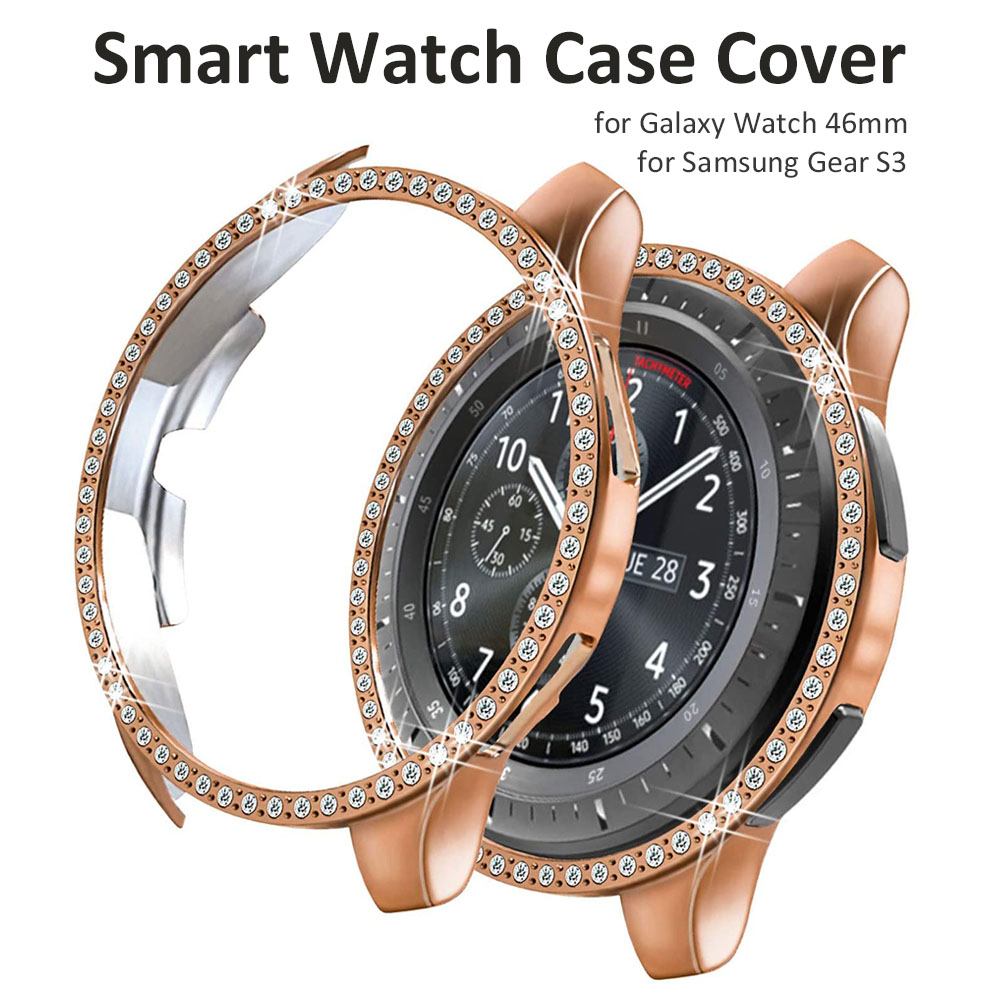 Diamond Cases For Samsung Galaxy Watch 46mm/Gear S3 Frontier Smartwatch Cover Frame Bling Crystal Rhinestone Shiny Women Girl