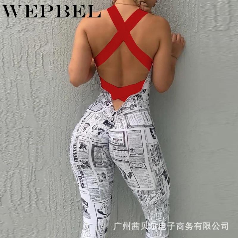 WEPBEL Women Summer Fluorescent Bandage Sport Playsuit New Fashion Skinny Print Jumpsuit Running Romper Overalls