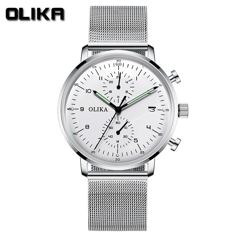 Top Brand Luxury Mens Watches OLIKA Waterproof Wristwatches With Date Japan Movement Fashion Mesh Strap Male Clock Reloj Hombre