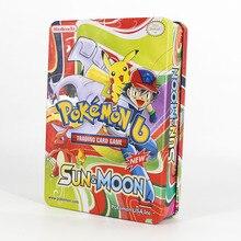 Такара Томи Покемон коллекция карточная игра доска 123пк карт Флэш-Битва игрушек сияющей металлической коробке для детей подарки PTCG