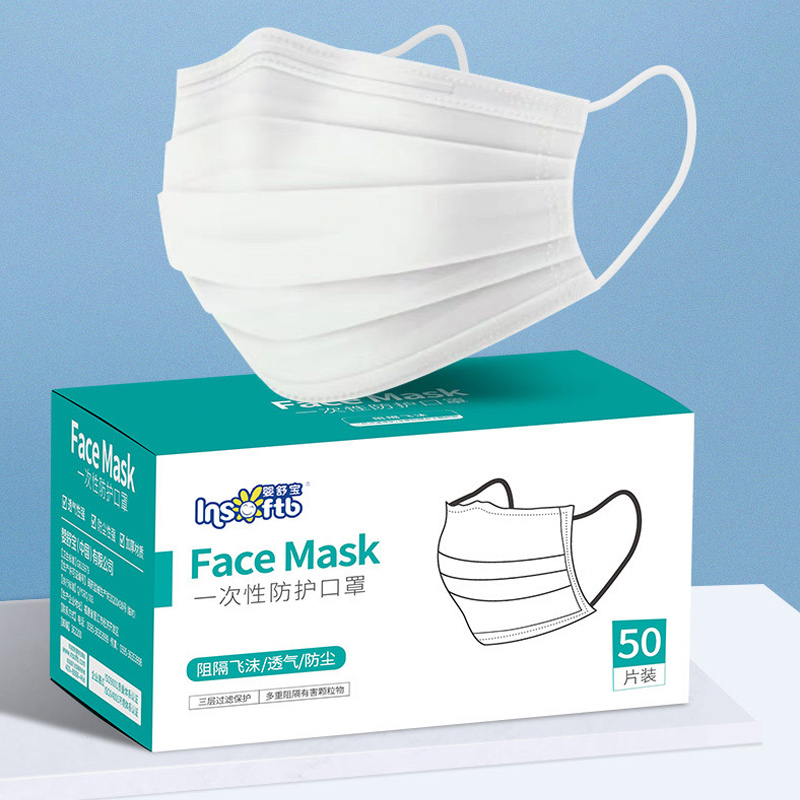 3 Layer Non-woven Dust Mask Thickened Disposable Mouth Mask  Elastic Ear Loop Disposable Dust Filter Safety Mask Anti-Dust