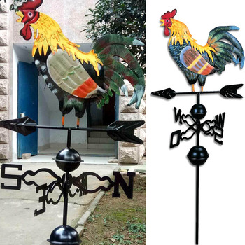Metal Weather Vane with Rooster Ornament Rooster Weathervanes Garden Patio Decor NIN668