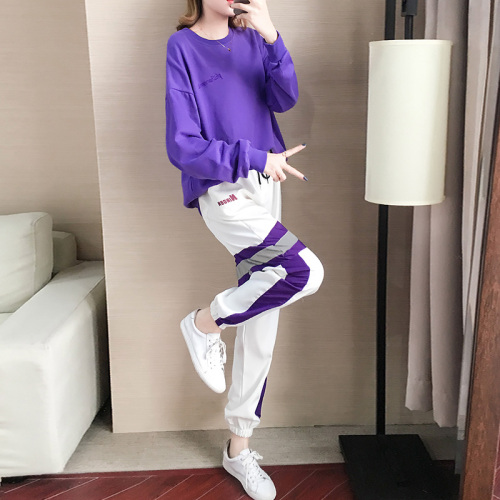 Autumn Winter Purple Two Piece Sets Women Long Sleeve Sweatshirt And Pants Suits Casual Fashion Korean Bf Style 2 Piece Sets 32