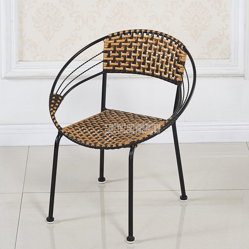 1Set 2pcs Rattan Weave Leisure Chair Simple PE Rattan Steel Frame Balcony Living Room Chair Moon Shape Backrest For Children S