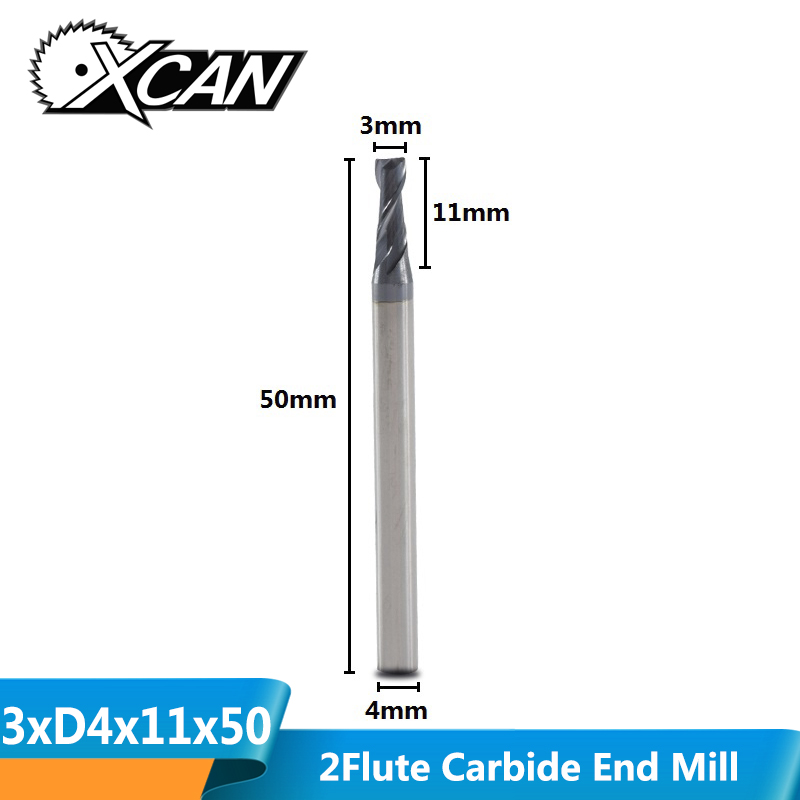 XCAN 1 Piece 3mm 2 Flute Tungsten Carbide  CNC End Mills TiAIN Coated Flat Milling Cutter For CNC Router Machine Engraving