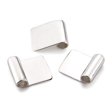 100pcs Silver Color Brass Glue on Flat Pad Bails for Jewelry Making DIY Accessories Findings 18x15.5mm Hole: 4.5mm