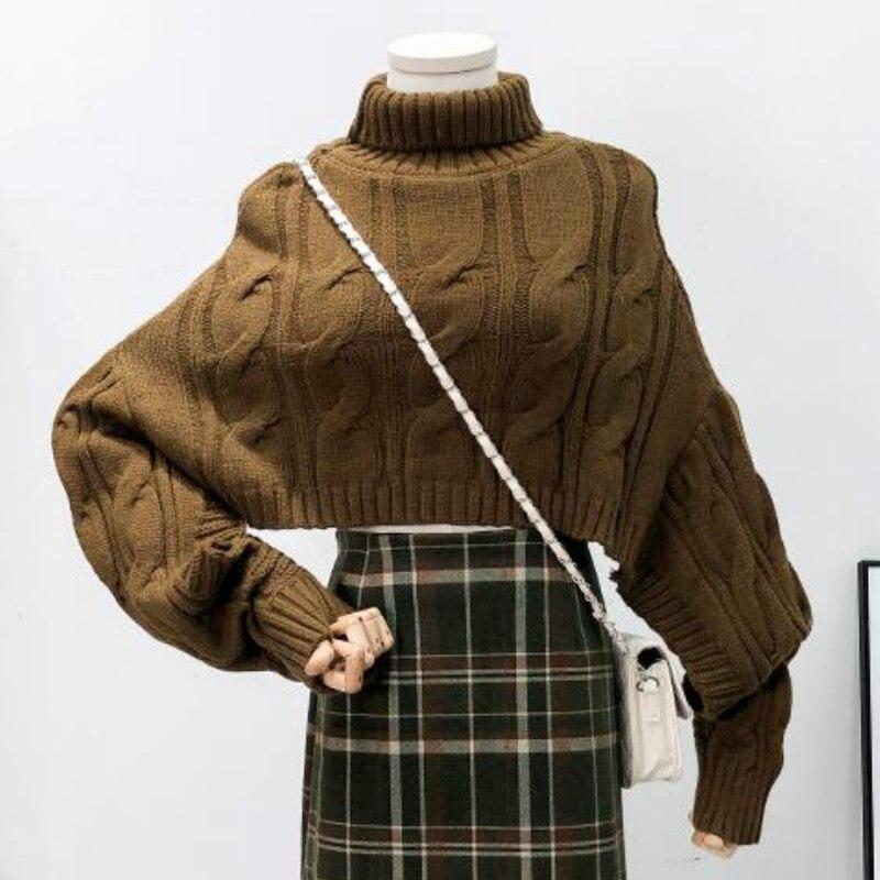 Turtleneck Women Short Sweaters Streetwear Autumn Crop Sweaters Lady Fashion Knitted Crop Tops