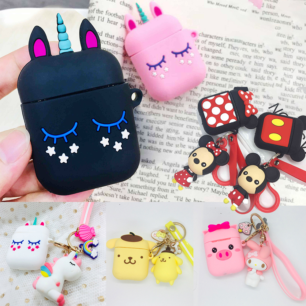 Silicon Cover For Airpods 2 Case Cute With Cartoon Keychain Accessories Protective Cover For Air Pods Wireless Earphone Case