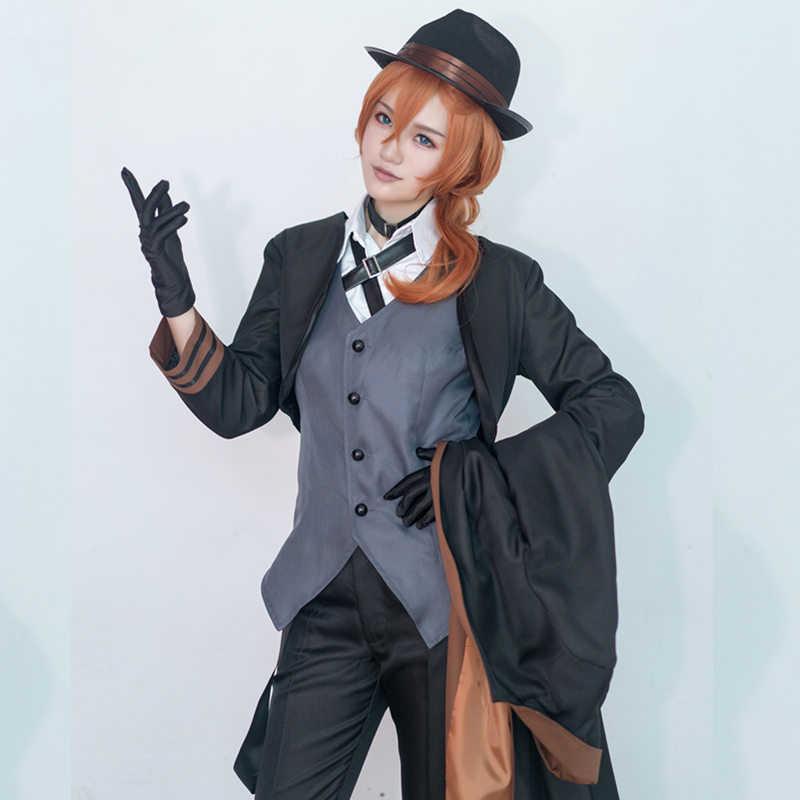 Chuya Nakahara Cosplay Bungou Anjing Liar Kostum Port Mafia Cosplay Anime Chuya Nakahara Kostum Halloween Seragam Cocok