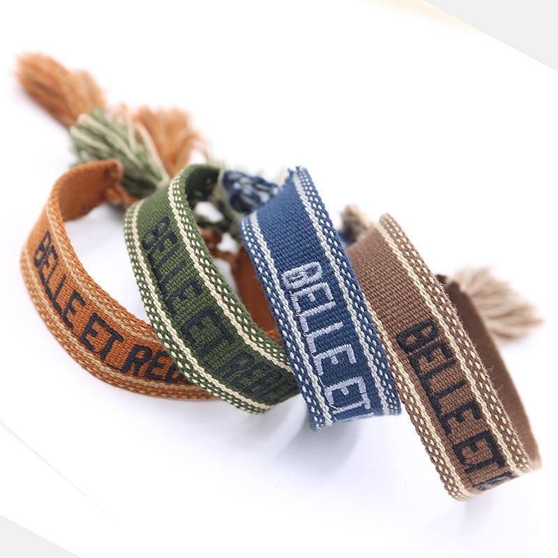 Adjustable Fabric Braided Bracelet Femme Letter Embroidery Tassel Bracelets Ethnic Lace-up Friendship wristband Couple bracelet
