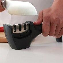 Afilador de cuchillos de cocina profesional AMINNO, afilador de cuchillos de cerámica de diamante de acero de tungsteno grueso/fino, 3 etapas