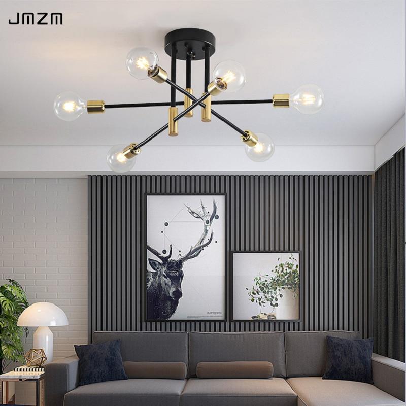 Jmzm nórdico moderno lustre de iluminação led 4/6/8 luzes penduradas interior jantar luminárias quarto sala estar pingente lâmpada