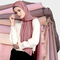 Muslimischen Mode Plain Blase Chiffon Schal Hijab Schal Weiche Frauen Wrap femme foulard Tücher Stirnband Muslimischen Hijabs Schals