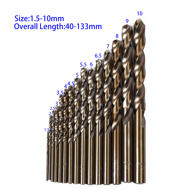 Cool Shop15pcs Cobalt Drill Bits For Metal Wood Working M35 HSS Steel Straight Shank 1.5-10mm Twisted Drill Bit Power Tools