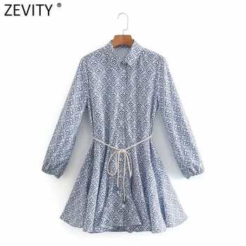 Zevity Women Vintage Totem Floral Print Big Swing Ruffles Mini Shirt Dress Female Chic Breasted Lace Up Sashes Vestidos DS8133 1