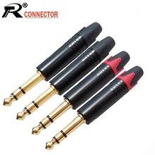 10 adet/grup 6.35mm konnektör 1/4 inç 3 kutuplu Stereo erkek tak çinko alaşım tüp altın kaplama fiş mikrofon kablosu konnektör