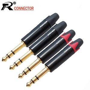 Image 1 - 10 teile/los 6,35mm Stecker 1/4 Zoll 3 Pole Stereo Stecker Zink legierung Rohr Vergoldet Stecker Mikrofon Kabel stecker