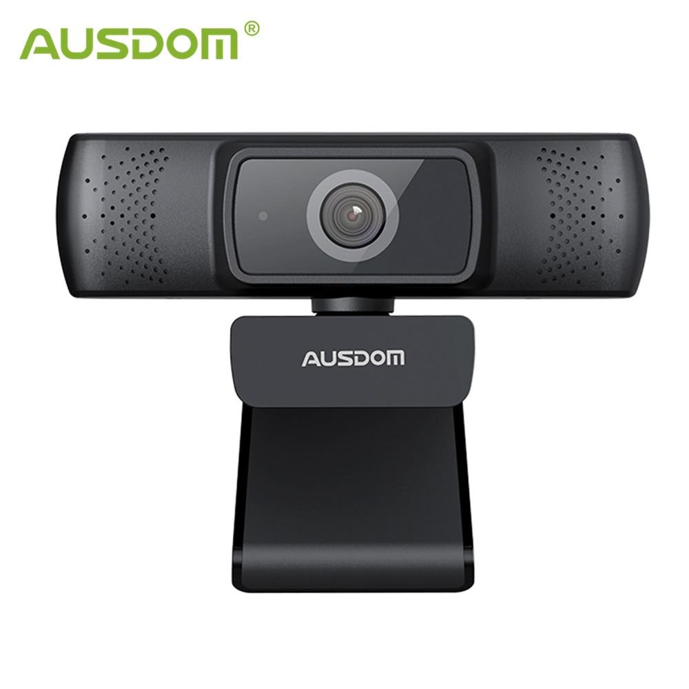 AUSDOM AF640 Full HD 1080P kamera internetowa automatyczne ustawianie ostrości z mikrofonem z redukcją szumów kamera internetowa dla Windows Mac