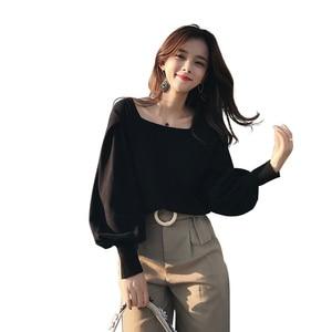 Image 5 - 2019 MISHOW sonbahar vintage örme kazak kadın moda rahat kare yaka fener kollu kısa üstleri MX18C5196