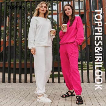 Toppies 2021 Casual Shorts Set Pants Suit Women Tracksuits Harajuku Sweatshirts Elastic Waist Pencil Pants High Waist 1