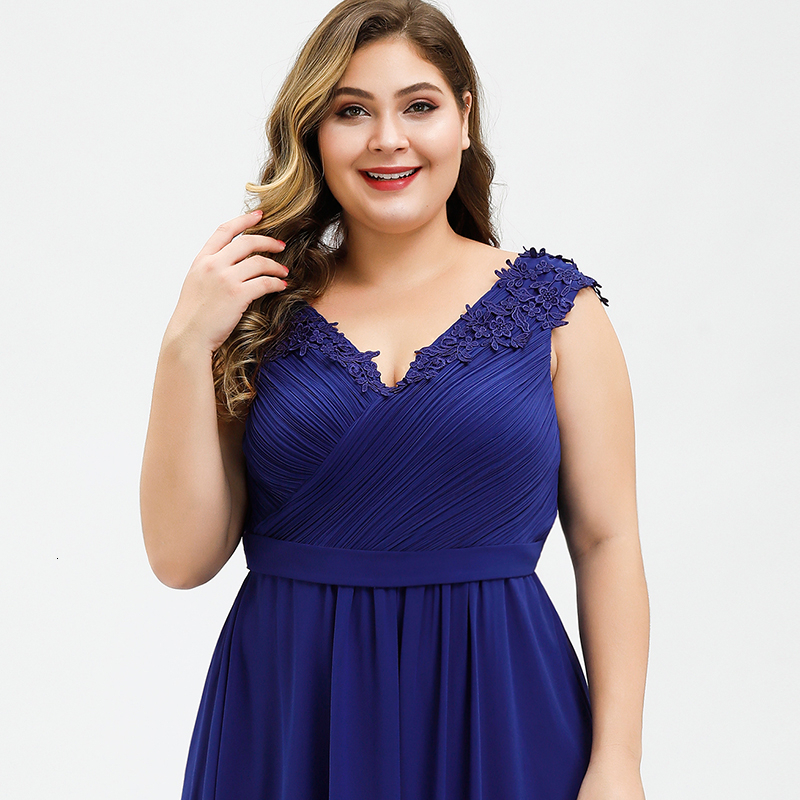 Plus Size Prom Dresses A-Line V-Neck Sleeveless Ruched Appliques Elegant Chiffon Formal Party Gowns Vestido Gala Mujer 2020 3