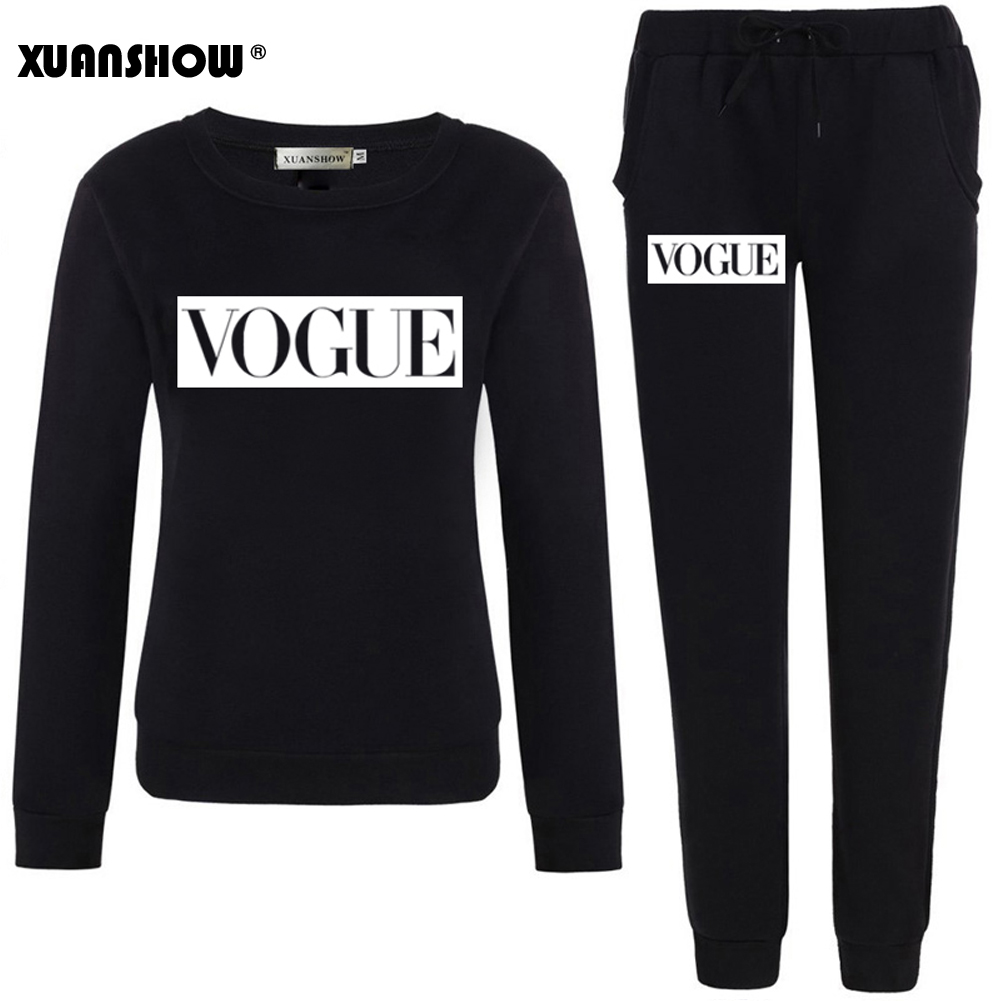 XUANSHOW Autumn Winter Women Set VOGUE Letter Print Sweatshirt+Pants Long Sleeve Tracksuits Two Piece Suit Sportswear Outfit XXL