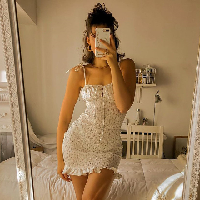 Yimunancy Floral Print Spaghetti Strap Dress Women Lace Up Ruched Dress 2020 Summer Ladies Cute Ruffle Bodycon Dress Robes 4