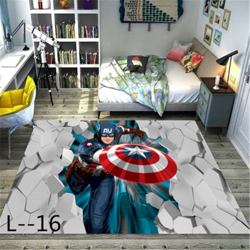 Captain America Mat Rug Carpet Washed Non-slip Living Room Bedroom Bedside 3D Printed Carpet Floor Mat Foyer Door Mat  Playmat