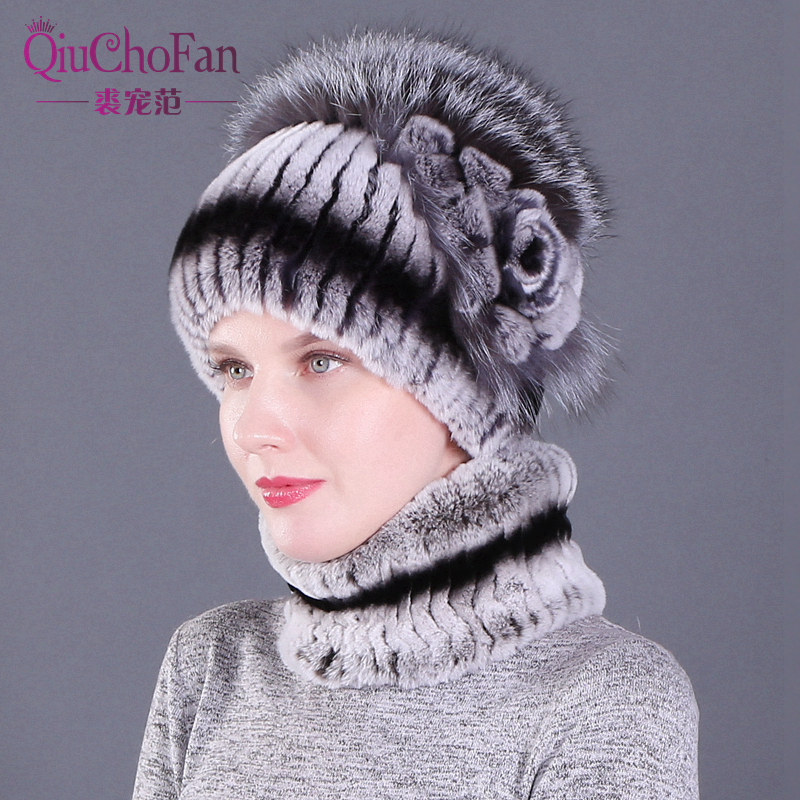 Real Rex Rabbit Fur Women Hat Scarf Sets Winter Thick Warm Vintage Fur Female Caps Scarves Casual Ladies Hats New Arrival