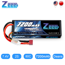 Zeee 7200mAh 7.4V 80C LiPo Battery with Deans Plug 2S LiPo Batteries for RC Car Vehicle Truck Boat Losi Slash Truggy