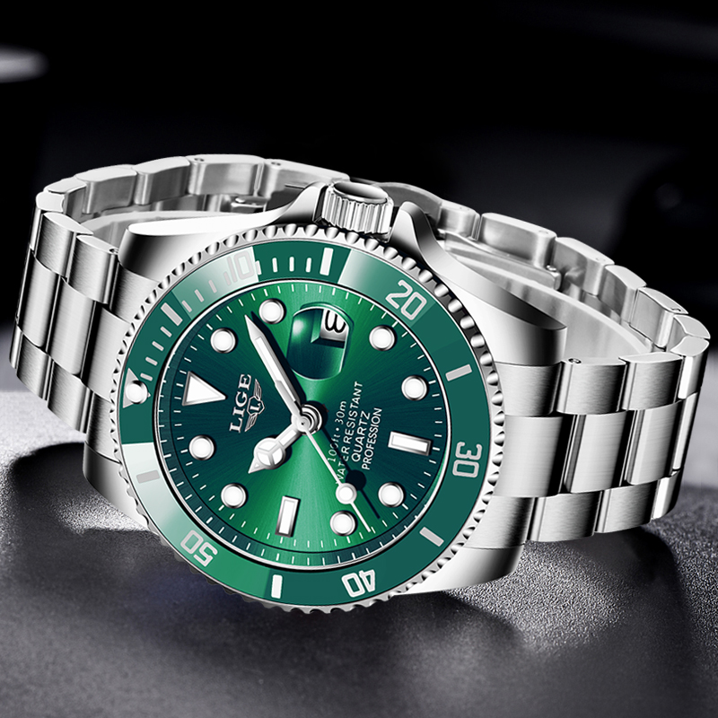 LIGE Top Brand Luxury Fashion Diver Watch Men 30ATM Waterproof Date Clock Sport Watches Mens Quartz Wristwatch Relogio Masculino 4