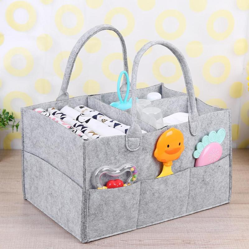 Felt Storage Bag Fashionable Liberal And Lovely Appearance Foldable Baby Diaper Toys Storage Basket Car Organizer