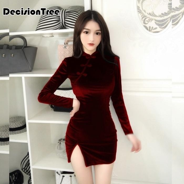 2020 Chinese Dress Women Traditional Cheongsam Long Sleeve Sexy Bodycon Short Qipao Split Party Club Dress Qipao Vestidos