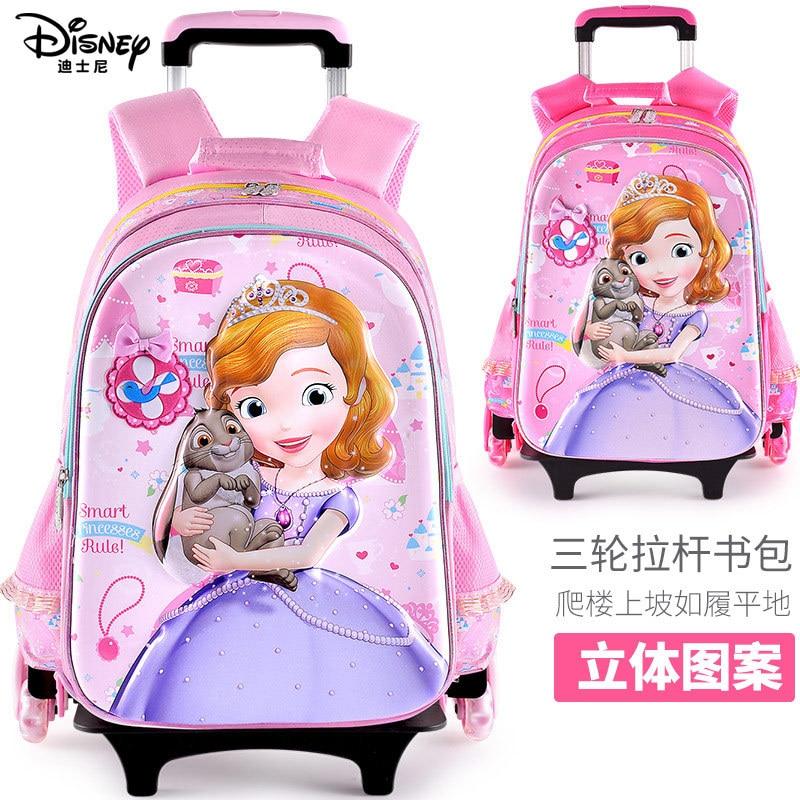 Authentic Disney Schoolbag Primary School Girl 8-12 Years Old Princess Sophia Three-wheeled Children's Trolley Schoolbag